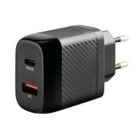 ΠΡΙΖΑ ΣΠΙΤΙΟΥ 100/230V ΜΕ 2 USB TYPE A + TYPE C 20W HOME POWER ULTRA FAST CHARGER Φορτιστές Σπιτιού americat.gr
